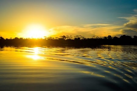 tour to contemplate the amazing sunset on amazon rainforest